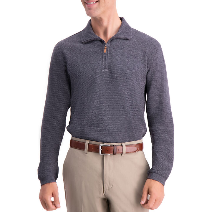 1/4 Zip Ribbed Sweater, Black Marl