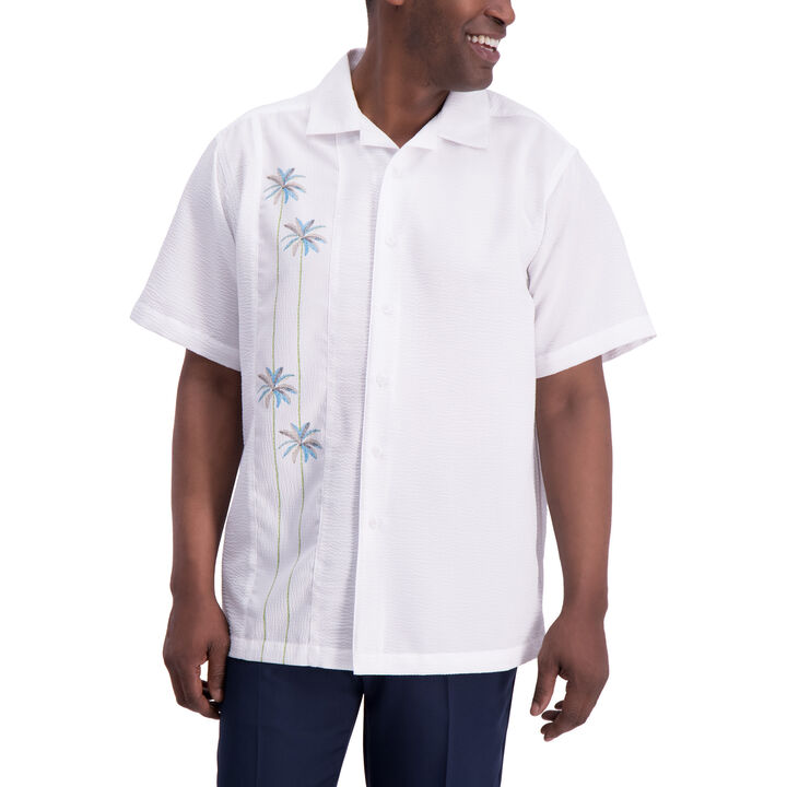 Palm Side Panel Button Down Shirt, White