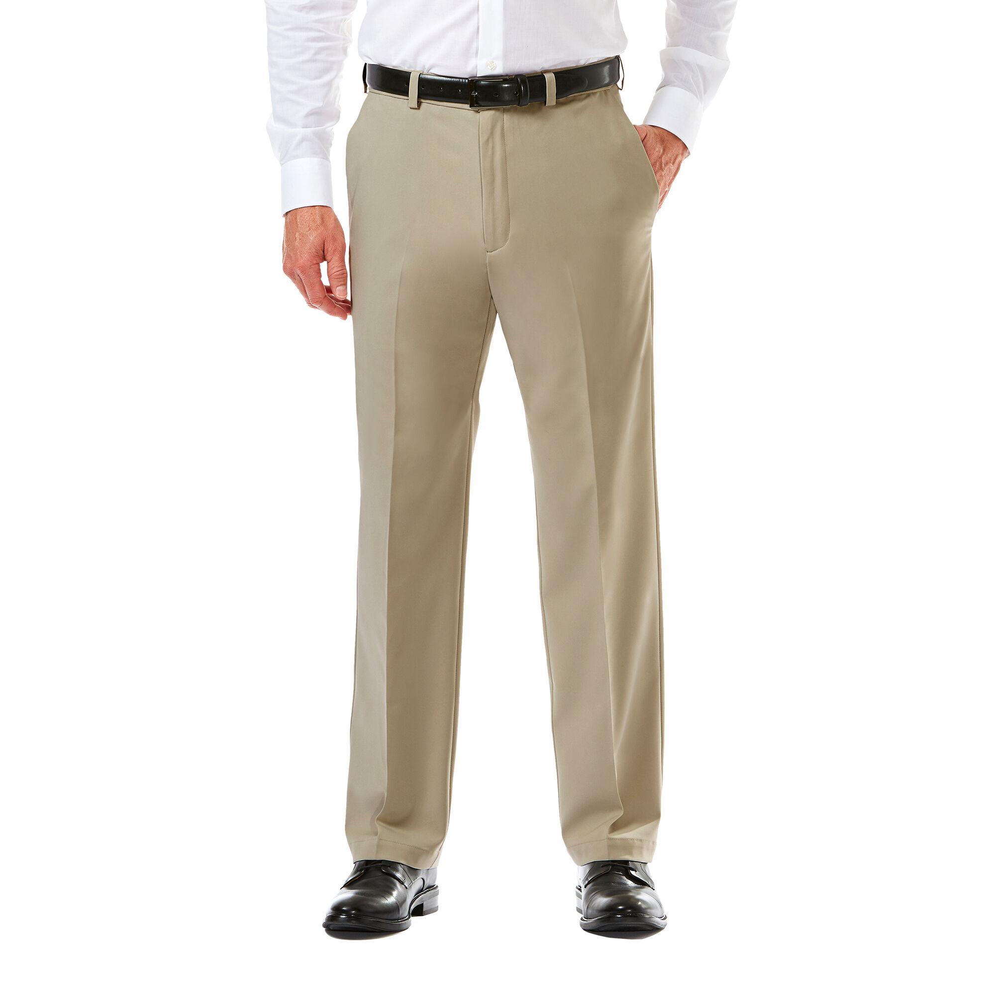 Haggar Mens Cool 18 Expandable Waist Classic Fit Pant