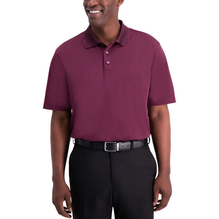 Cool 18® Houndstooth Polo, Oxblood Htr