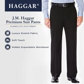 J.M. Haggar Premium Stretch Suit Pant - Flat Front, Chocolate, hi-res