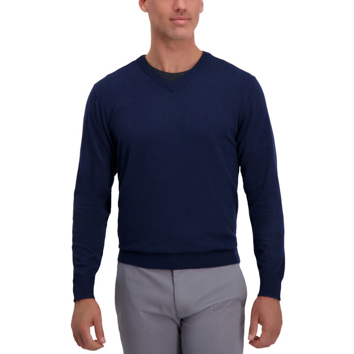 V-Neck Basic Sweater, Navy