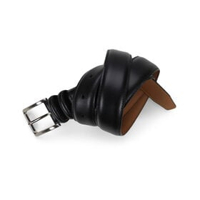 Dress Leather Double Loop Belt - Black, Black