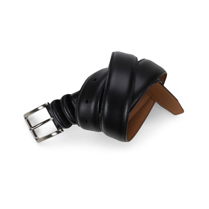 Leather Double Loop Belt - Black,