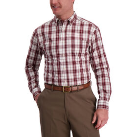 Windowpane Plaid Shirt, Deep Wine