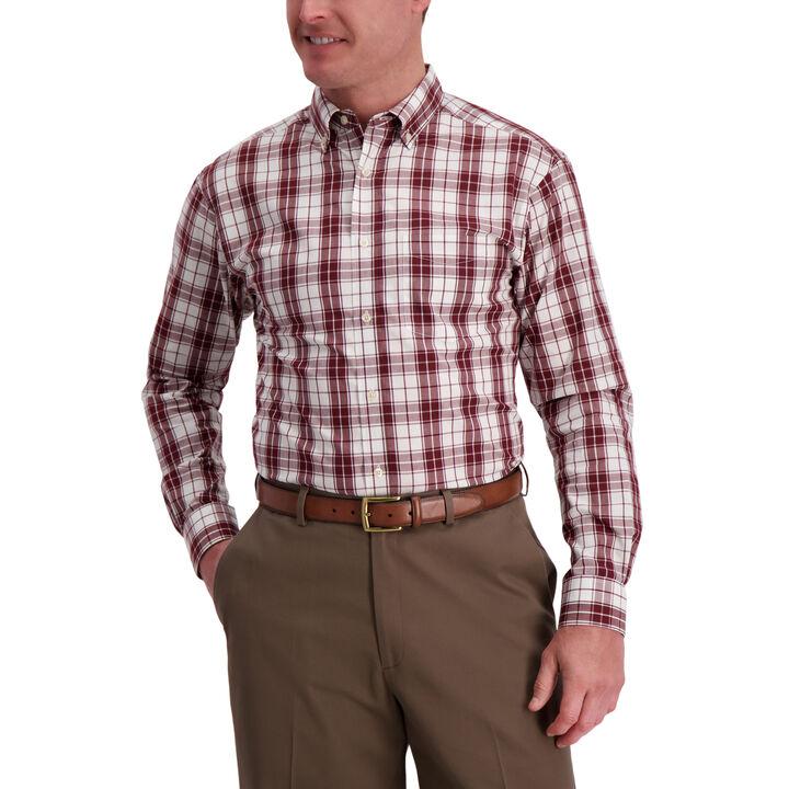 Windowpane Plaid Shirt, Deep Wine