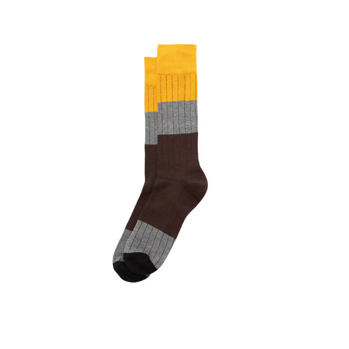 Colorblock Rib Sock, Khaki