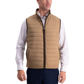 Channel Quilted Vest, Medium Beige