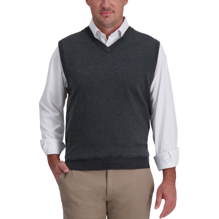 Basic V-Neck Sweater Vest,  Iron Heather