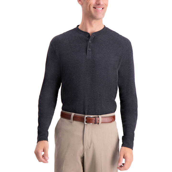 Thermal Henley, Black / Charcoal