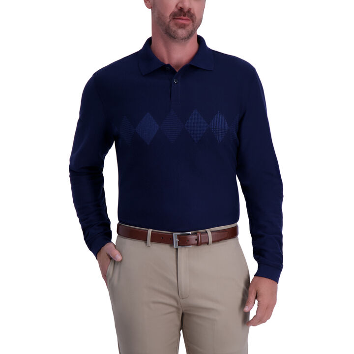 Argyle Chest Stripe Long Sleeve Polo - Navy,  Navy Heather