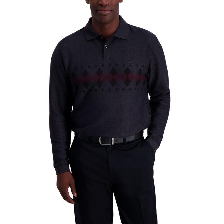 Argyle Chest Stripe Long Sleeve Polo, Black