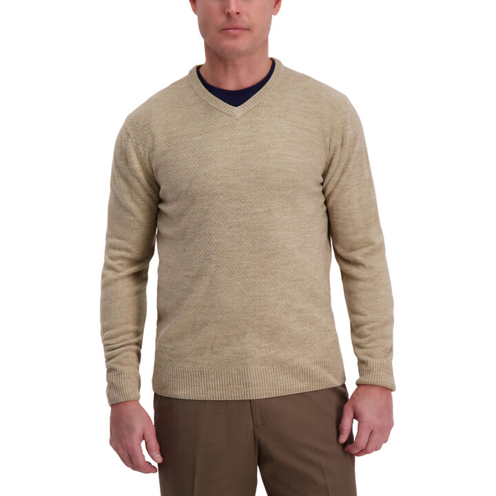 Textured Diamond V-Neck Sweater, British Khaki