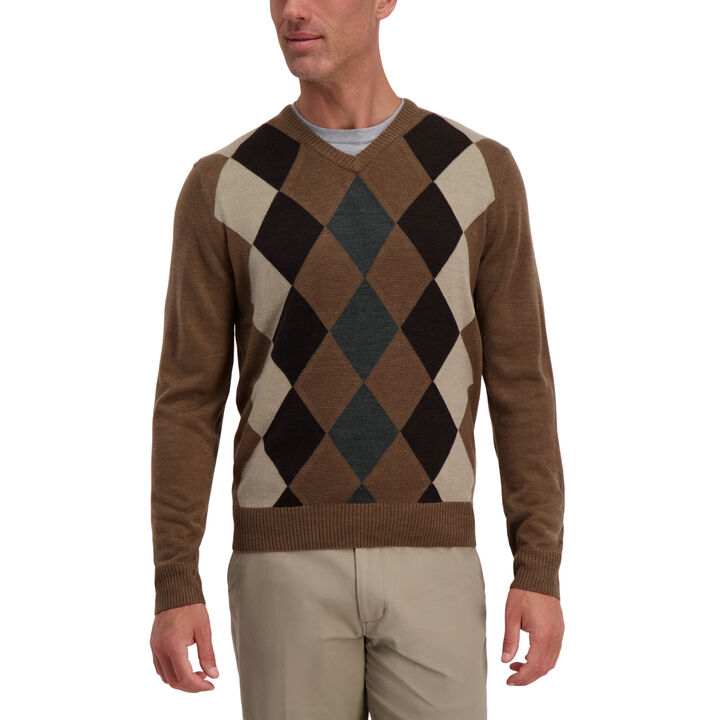 Argyle V-Neck Sweater, Bark