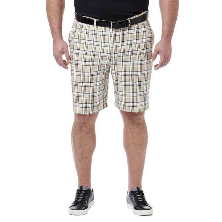 Big & Tall Cool 18® Pro Simple Plaid Short, Stone open image in new window