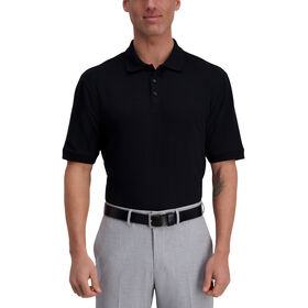 Large Box Print Polo, Black