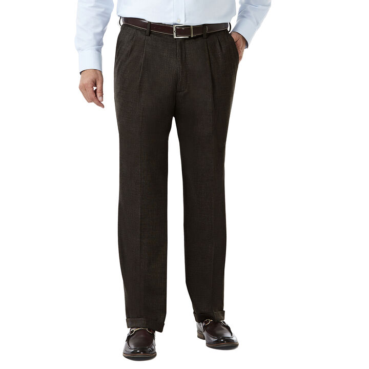 J.M. Haggar Premium Stretch Suit Pant - Pleated Front, Chocolate