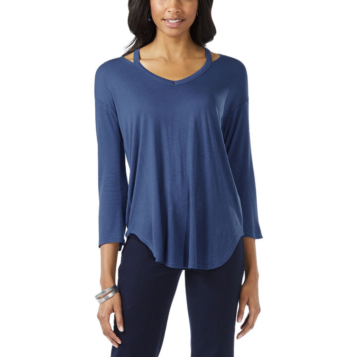 3/4 Sleeve Neck Detail Top, True Navy