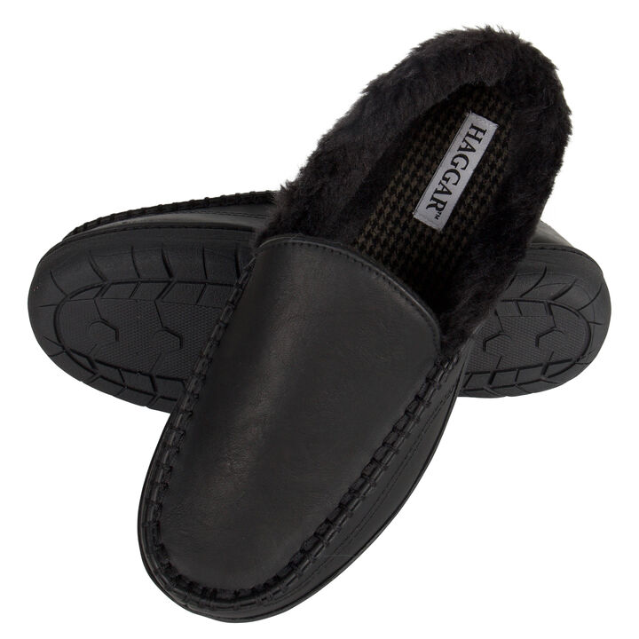 Smooth Venitian Slippers, Black open image in new window