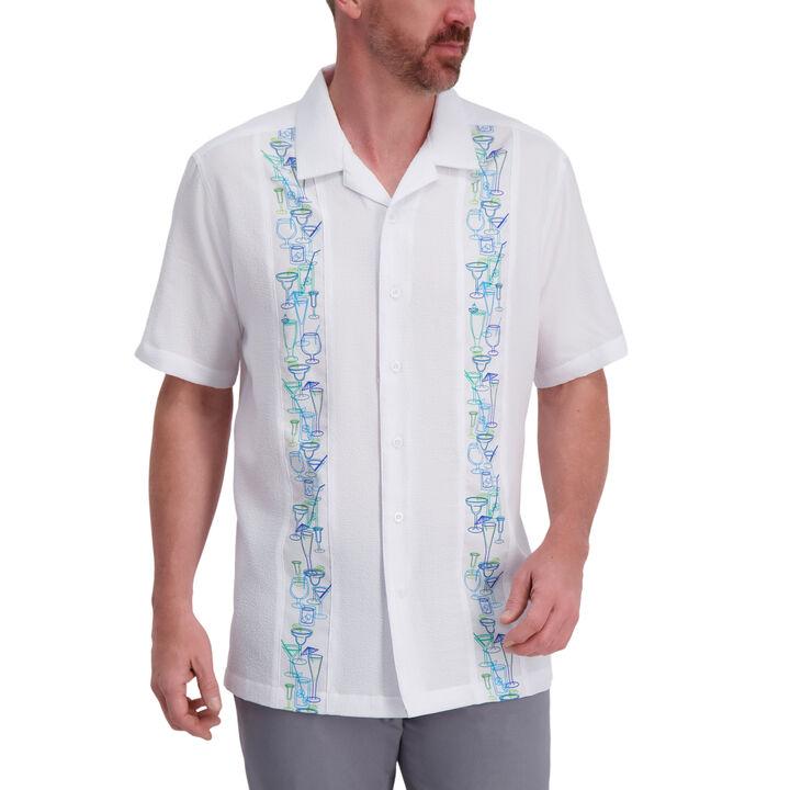 Martini Print Microfiber Shirt, White open image in new window