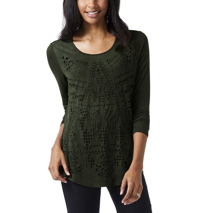 Long Sleeve Scoop Neck Top, Forest