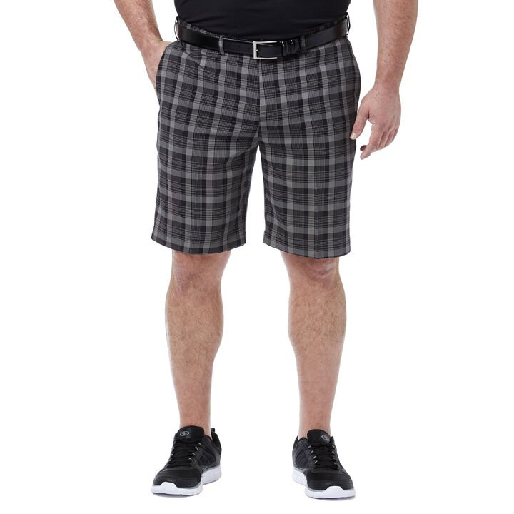 Big & Tall Cool 18® Pro Pinstripe Plaid Short, Black