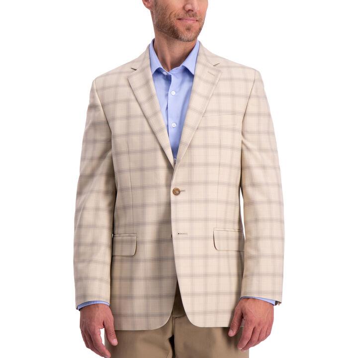 Khaki Windowpane Sport Coat , Medium Beige