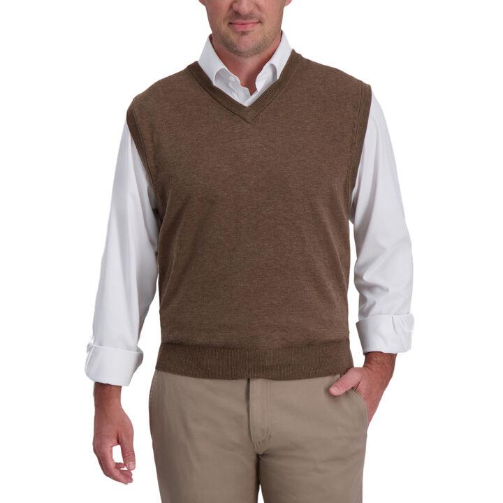 Basic V-Neck Sweater Vest, Bark