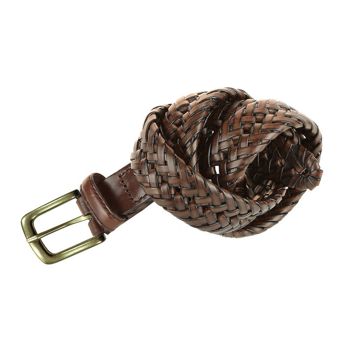 Leather Braid Belt, Brown