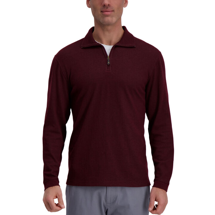 Quarter Zip Rib Knit Sweater,  Wine Heather