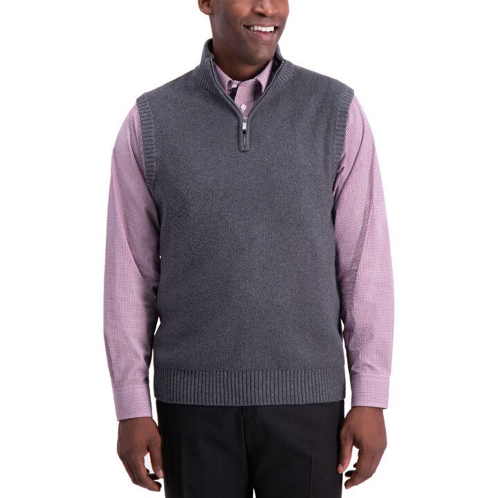 1/4 Zip Sweater Vest, Iron Hthr