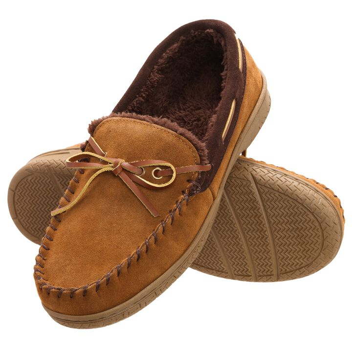 Genuine Suede Moccasin, Brown open image in new window