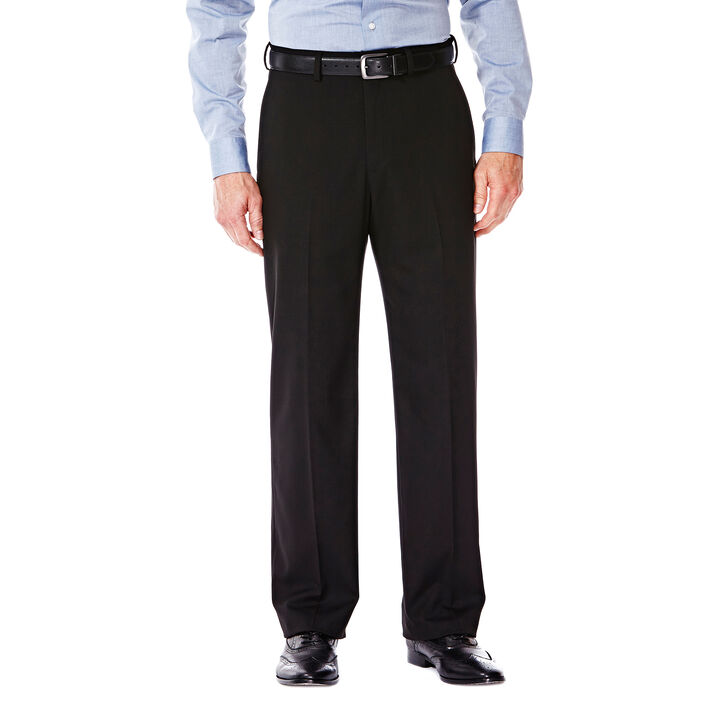 J.M. Haggar Premium Stretch Suit Pant - Flat Front, Black open image in new window