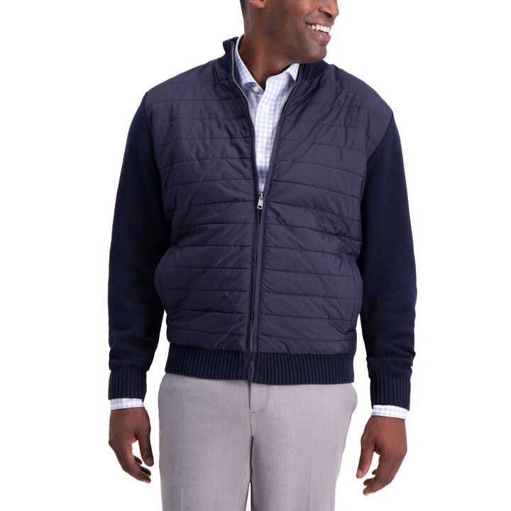 Quilted Nylon Sweater, Navy open image in new window