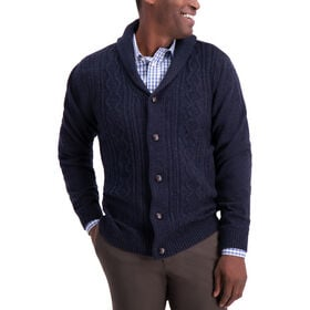 Cable Knit Cardigan, Navy