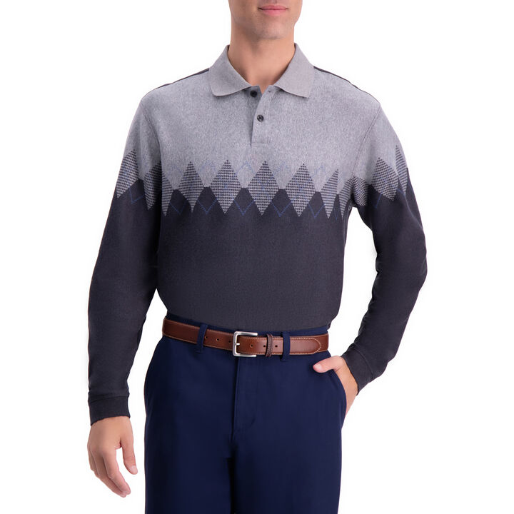 Arglye Chest Stripe Long Sleeve Knit Polo,