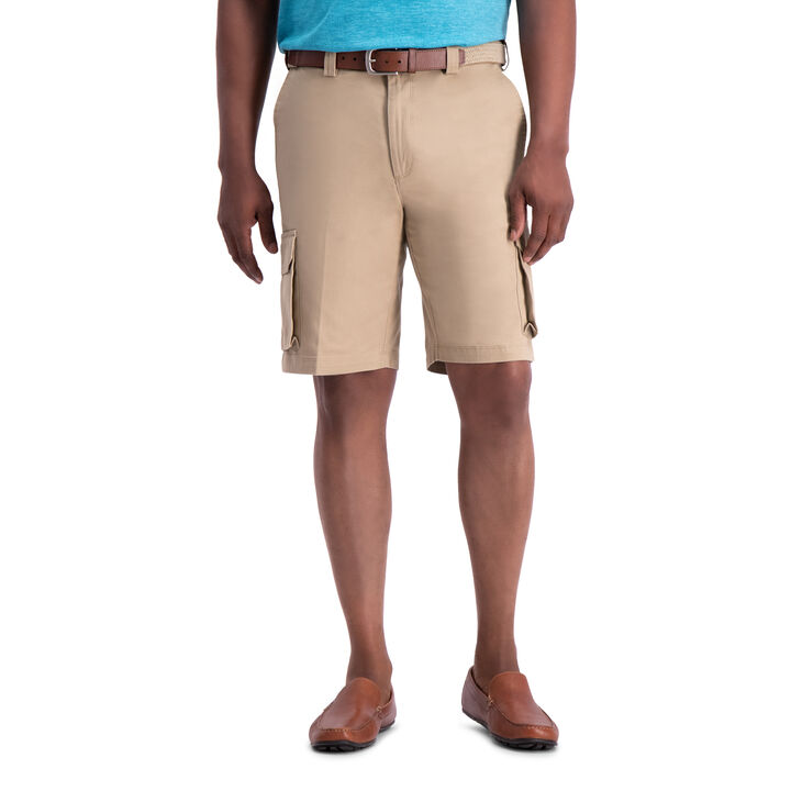Stretch Cargo Short with Tech Pocket, Khaki open image in new window