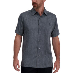 Vertical Marled Striped Microfiber Shirt, Light Grey
