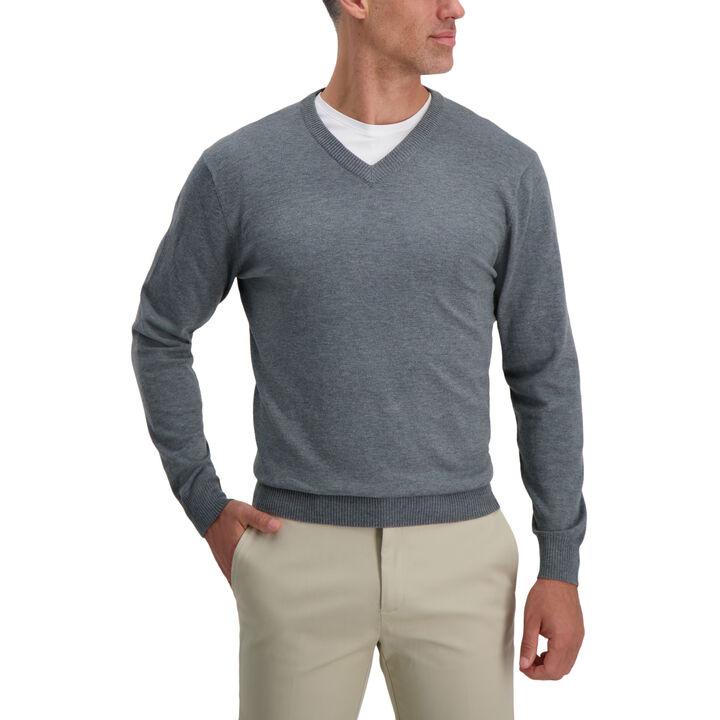 V-Neck Basic Sweater, Flannel Heather