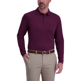 Solid Heather Long Sleeve Polo, Sangria