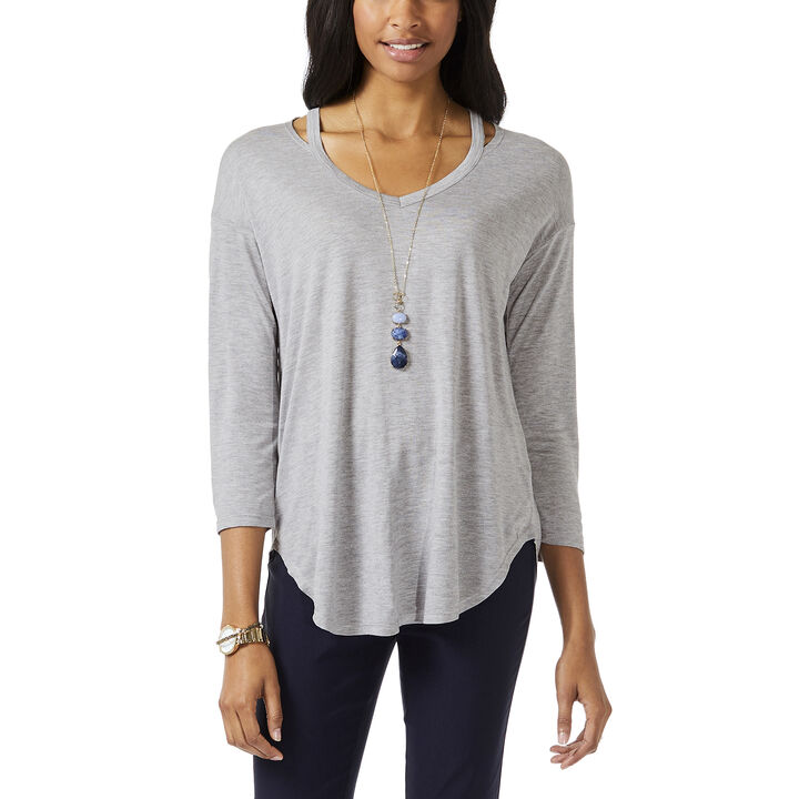 3/4 Sleeve Neck Detail Top, Grey Mix
