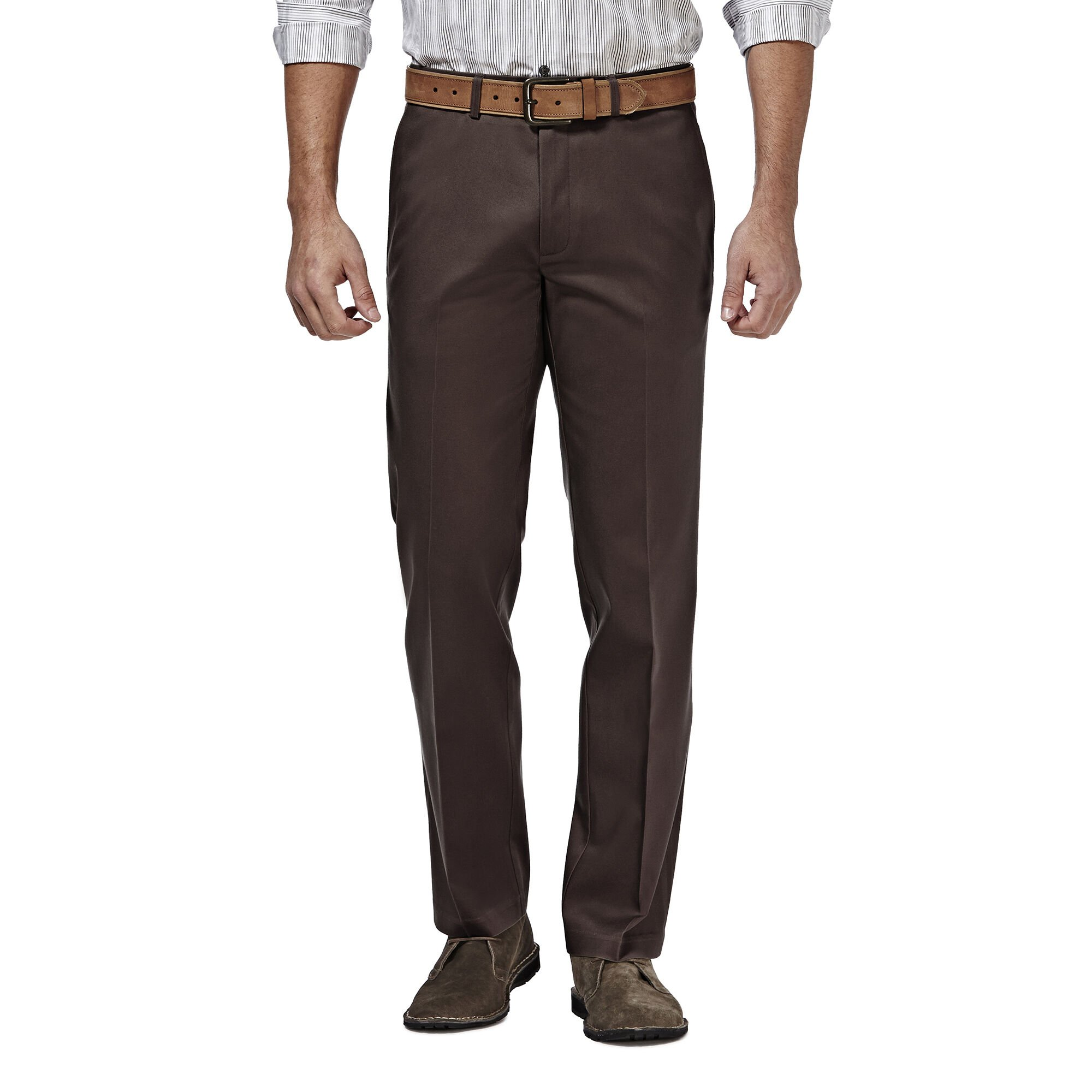 Cotton Dark Grey 36 Straight Fit Flat Front Haggar Men/'s Casual Chino Pants