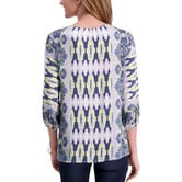 3/4 Sleeve Printed Blouse,  Canary 2