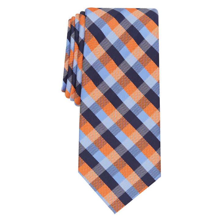Kayden Plaid Tie, Orange