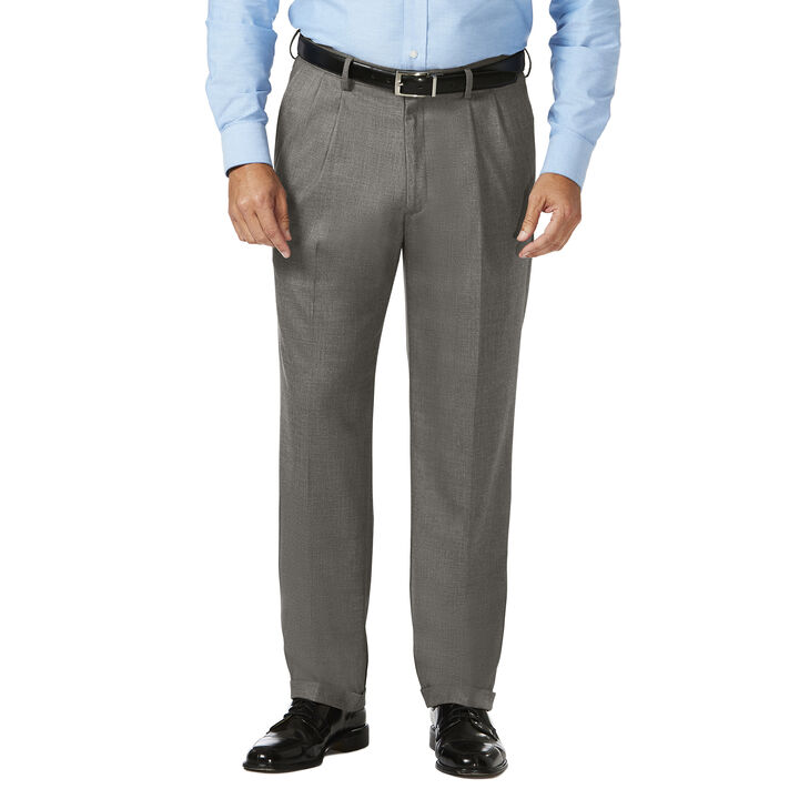 Big & Tall J.M. Haggar Dress Pant - Sharkskin, Medium Grey open image in new window