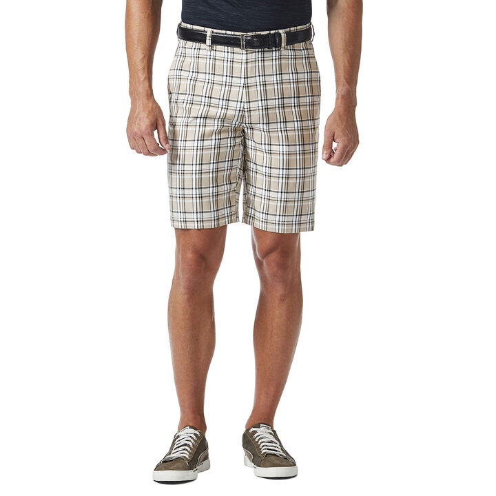 Cool 18® Pro Simple Plaid Short, Stone