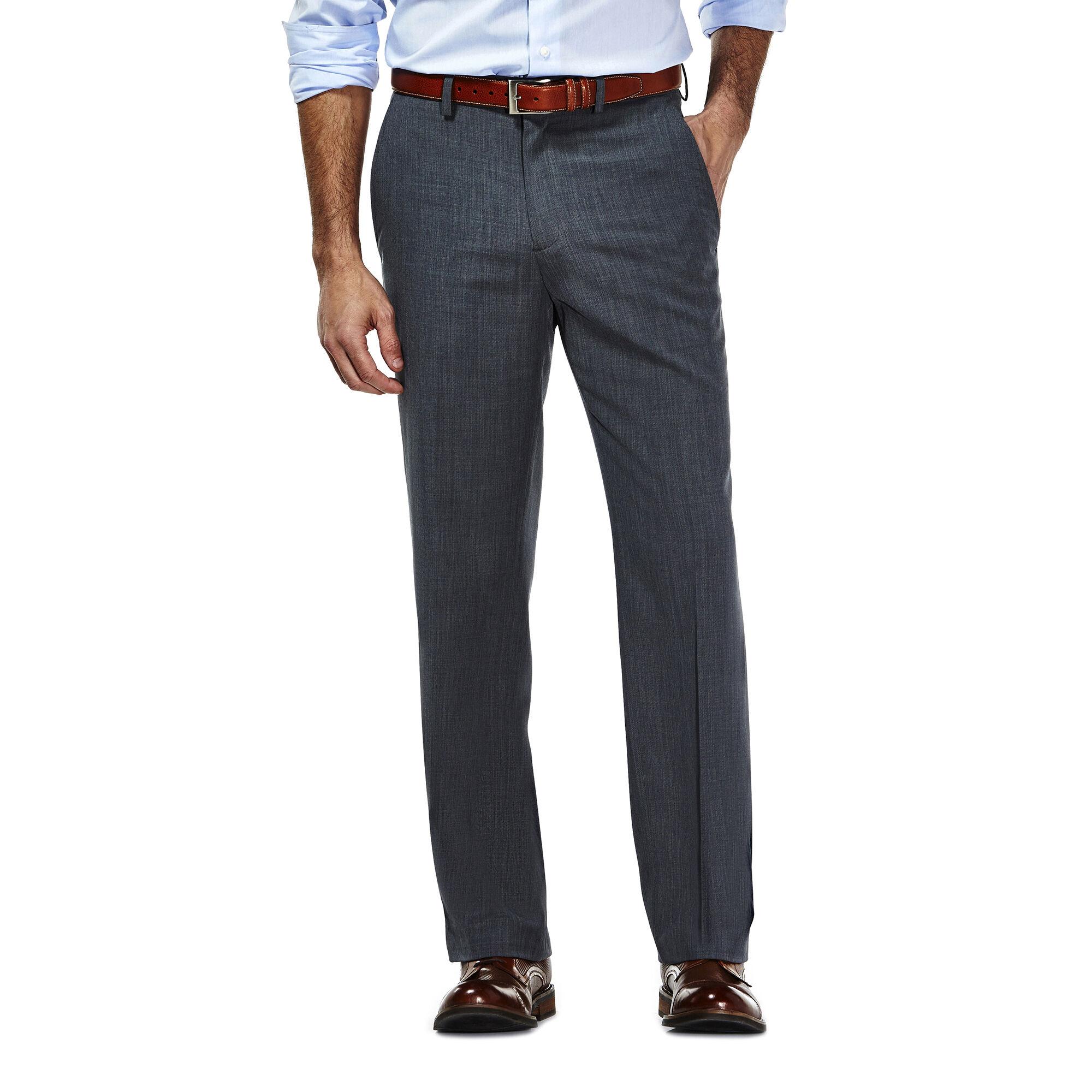 Haggar Mens Stria Slim-Fit Flat-Front Suit Separate Pant