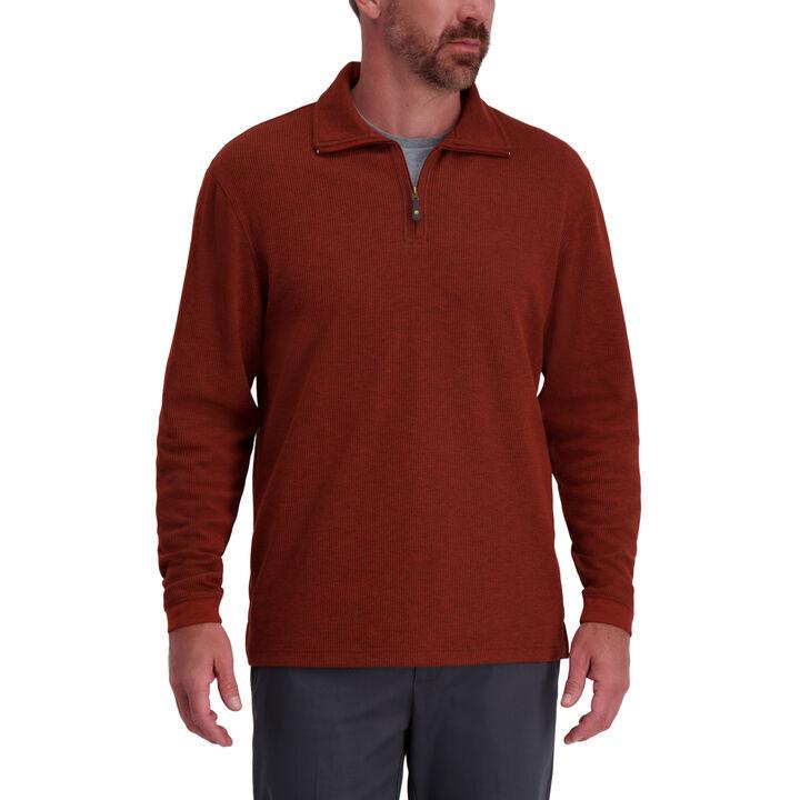 Quarter Zip Rib Knit Sweater,  Rusted Orange