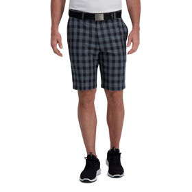 Cool 18® Pro Windowpane Plaid Short, Medium Grey