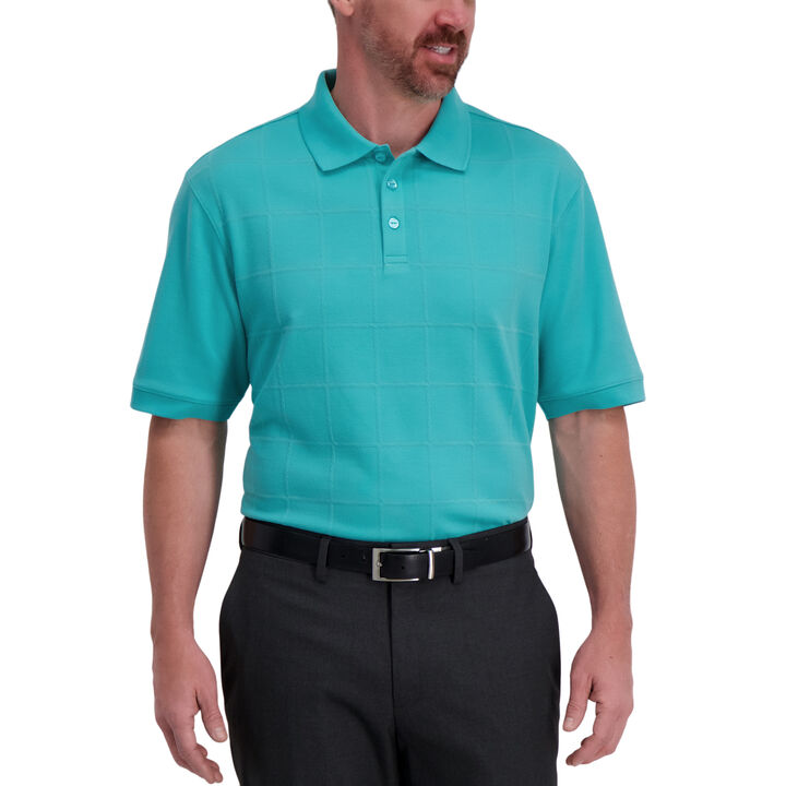 Large Box Print Polo, Jade